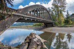 在敞篷运河附近的桥梁 免版税图库摄影