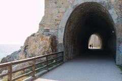 在散步现在使用的老铁路隧道 免版税库存图片