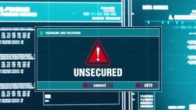 34 在数字式安全警戒的无担保的警告通知在屏幕上 库存例证