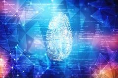 在数字式屏幕上的指纹扫描 Cyber证券概念 3d回报 库存图片
