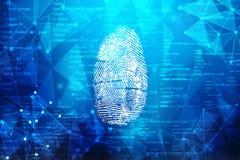 在数字式屏幕上的指纹扫描 Cyber证券概念 3d回报 免版税库存图片
