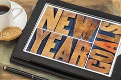 在数字式片剂的新年目标 免版税库存照片