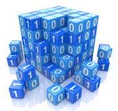 在数字式蓝色立方体的二进制编码, 3d图象 免版税库存照片