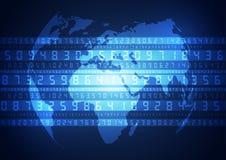 在数字技术背景的蓝色地球,传染媒介 库存照片