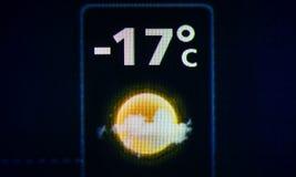 在数字显示的天气预报 免版税库存图片