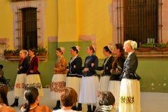在文化的节日的保加利亚舞蹈小组 免版税图库摄影