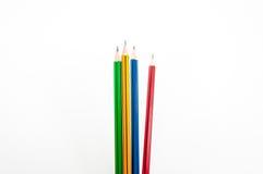 在文字的拳头力量的五颜六色的铅笔在白色的 库存照片