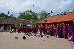 在文学,河内,越南寺庙的毕业典礼  库存照片
