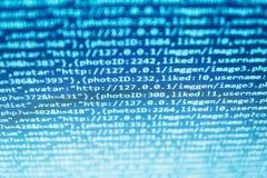 在文本编辑程序的Java语言代码 软件抽象屏幕  编程的代码键入 库存图片