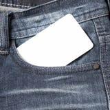 在斜纹布口袋的名片 库存图片