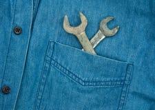 在斜纹布口袋的板钳 免版税库存图片
