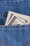 在斜纹布口袋的美国美元 免版税图库摄影