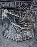 在斜纹布口袋的蜘蛛样式 免版税库存照片