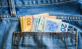 在斜纹布口袋的金钱钞票 图库摄影