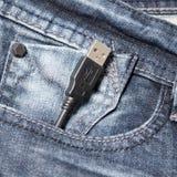 在斜纹布口袋的Usb缆绳 库存图片