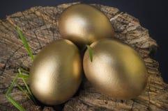 在斩肉板的金黄鸡蛋 免版税库存照片