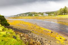 在斯凯岛海岛上的小村庄  免版税图库摄影