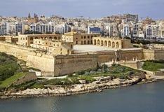 在斯利马附近的堡垒马努埃尔 马耳他海岛 图库摄影