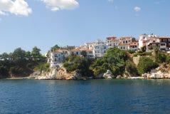 在斯基亚索斯岛海岛,希腊上的斯基亚索斯岛镇 库存照片