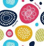 在斯堪的纳维亚样式的传染媒介装饰样式 与五颜六色的简单的形状的抽象背景 皇族释放例证