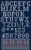 在斯堪的纳维亚样式的字体在与数集的红色背景 免版税库存图片