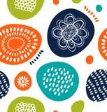 在斯堪的纳维亚样式的逗人喜爱的装饰样式 与五颜六色的简单的形状的抽象背景 免版税库存图片