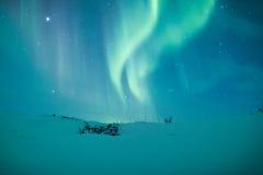 在斯堪的那维亚的极光borealis 免版税库存图片