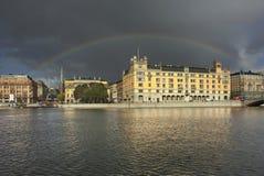 在斯德哥尔摩的彩虹 地区莫斯科一幅全景 瑞典 免版税库存照片
