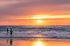 在斯海弗宁恩的海滩的金黄日落 免版税图库摄影