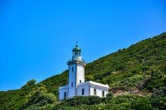 在斯科派洛斯岛海岛上的灯塔 免版税库存照片