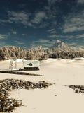 在斯诺伊冬天山风景的老石村庄 免版税库存照片