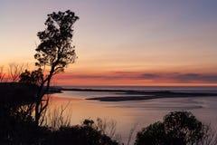 在斯诺伊河, Marlo,维多利亚,澳大利亚的日出 免版税库存图片