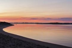 在斯诺伊河, Marlo,维多利亚,澳大利亚的日出 图库摄影