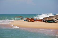 在斯里南卡的小船 免版税库存图片