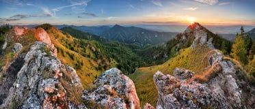 在斯洛伐克峰顶Ostra的绿色山自然风景 免版税库存图片