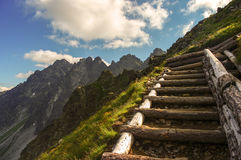 在斯洛伐克高Tatras的山行迹 库存照片