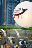 在新加坡发展银行河赛船会的新加坡发展银行商标2013年 库存照片