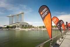 在新加坡发展银行河赛船会的新加坡发展银行旗子2013年 库存照片