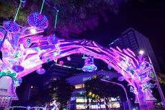 在新加坡果树园路的圣诞节装饰 免版税库存照片