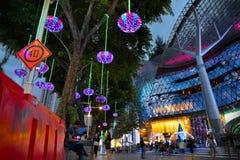 在新加坡果树园路的圣诞节装饰 库存图片
