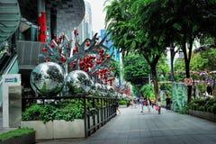 在新加坡果树园路的圣诞节装饰 图库摄影