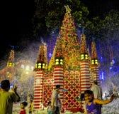 在新加坡果树园路的圣诞节装饰 库存照片