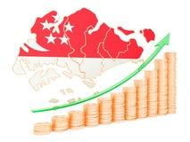 在新加坡概念,3D的经济增长翻译 库存例证