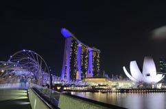 在新加坡海滨广场海湾的晚上场面 免版税库存照片
