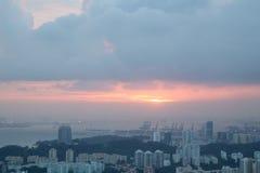 在新加坡的日落 免版税库存图片