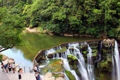 在新台北市的美丽的瀑布在台湾 免版税库存图片
