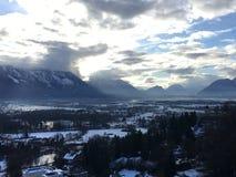 在新天鹅堡城堡的冬天风景在菲森,德国 免版税库存照片