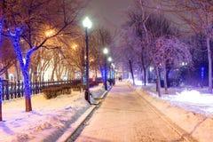 在新年前停放胡同在冬天晚上在12月 免版税库存照片