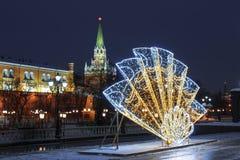 在新年和圣诞节假日,莫斯科期间,Manezhnaya广场 免版税库存照片