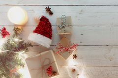 在新年快乐和圣诞节节日上看法背景 库存照片